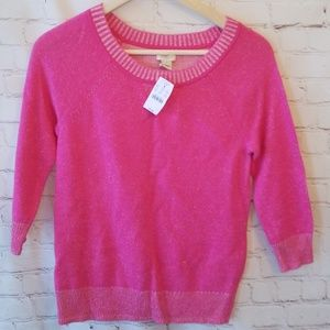 J Crew Pink Pleated Quarter Sleeve Sweater